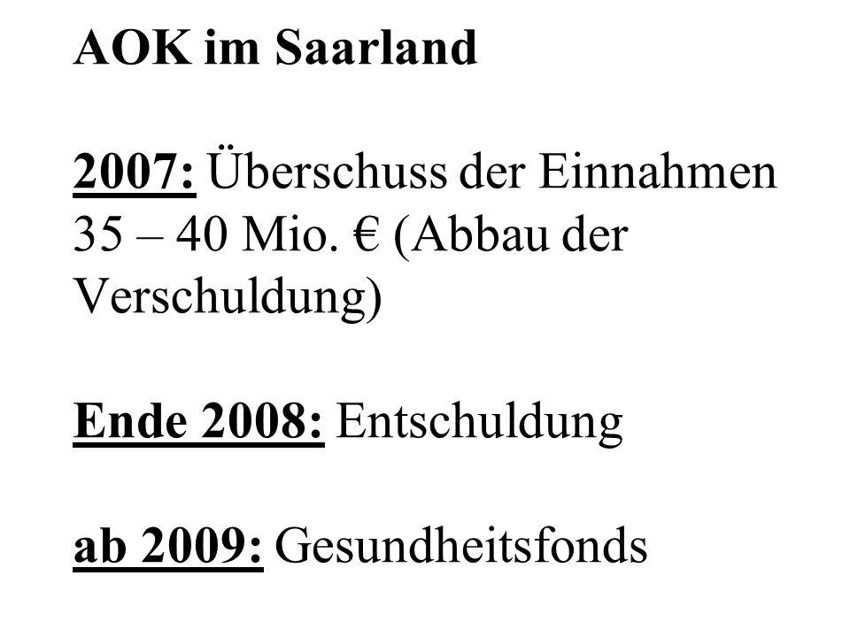 AOK im Saarland 2007: Überschuss der Einnahmen 35 – 40 Mio. € (Abbau der Verschuldung) Ende 2008: Entschuldung ab 2009: Gesundheitsfonds