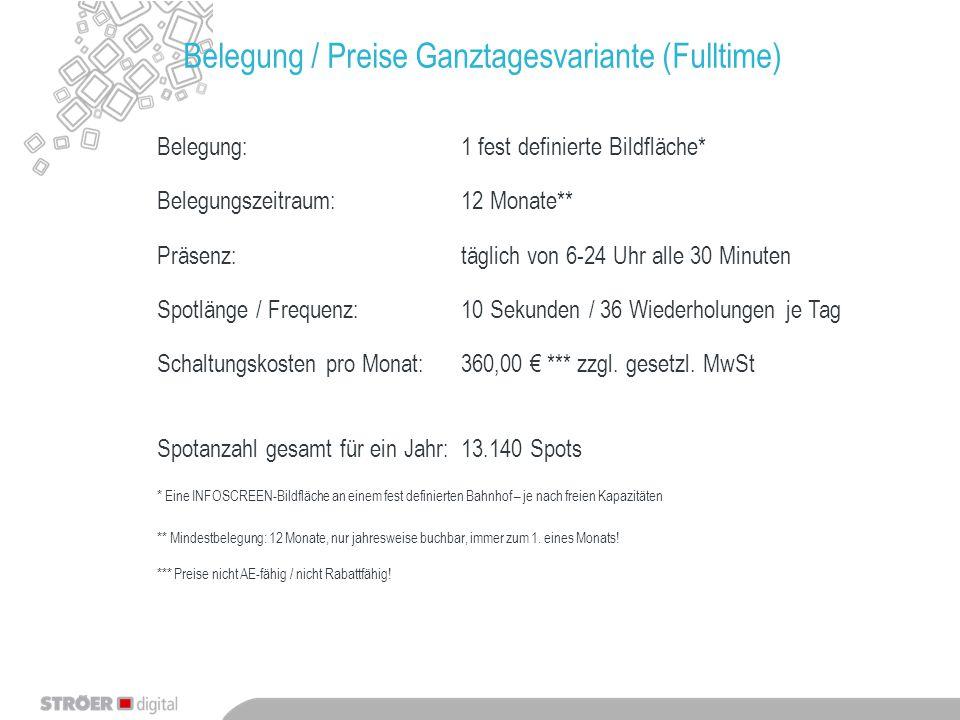 Belegung / Preise Ganztagesvariante (Fulltime) Belegung:1 fest definierte Bildfläche* Belegungszeitraum:12 Monate** Präsenz:täglich von 6-24 Uhr alle