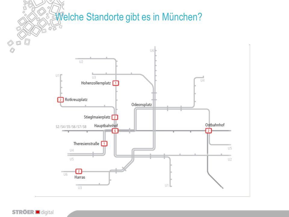 Übersicht der buchbaren Standorte in München - je Screen: 6 Spots Fulltime 4 Spots Daytime - Buchung nach Verfügbarkeit* - Wir prüfen die Verfügbarkeit für Sie - * die freien Kapazitäten sind pro Infoscreen begrenzt!