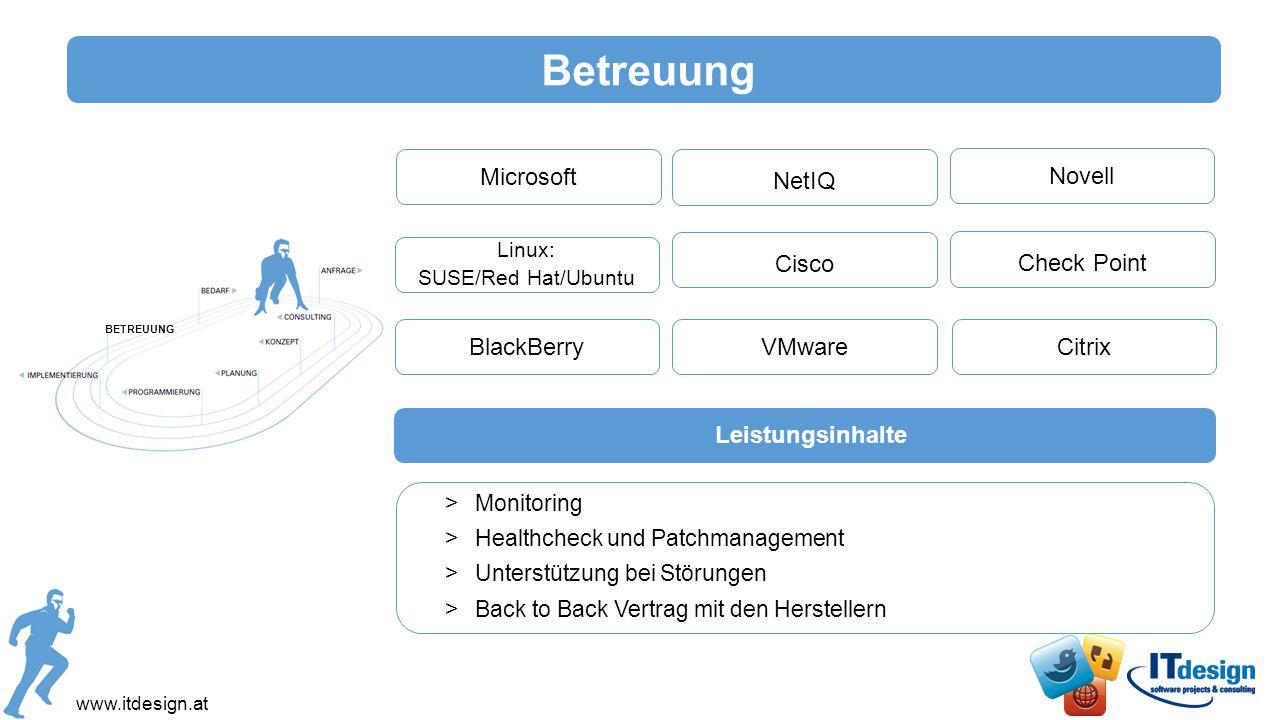 Betreuung NovellMicrosoft NetIQ Check Point Linux: SUSE/Red Hat/Ubuntu Cisco >Monitoring >Healthcheck und Patchmanagement >Unterstützung bei Störungen