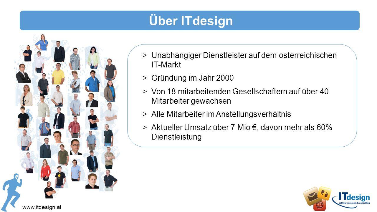 Enterprise 2.0 www.itdesign.at Vorteile von Enterprise 2.0 >Schnellere Entwicklung von Innovationen >Einfachere und effizientere Zusammenarbeit mit Kunden und Partnern >Unabhängigkeit von Ort und Zeit >Profitieren vom kollektiven Wissen Mehrwert von ITdesign >Unterstützung bei der Umsetzung von Workflow- Abbildungen spezifischer Prozesse und Aufgaben >Infrastrukturelle Einbindung in bestehendes Environment >Berücksichtigung von Security & Identity Aspekten Enterprise 2.0