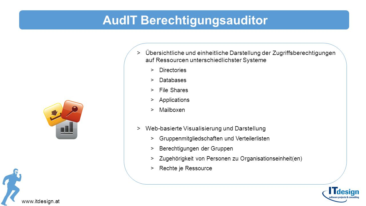 www.itdesign.at >Übersichtliche und einheitliche Darstellung der Zugriffsberechtigungen auf Ressourcen unterschiedlichster Systeme >Directories >Datab