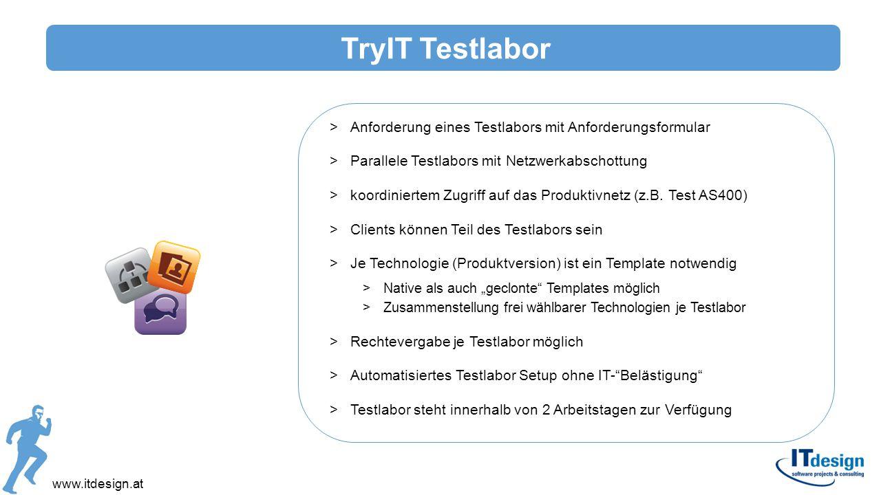 www.itdesign.at >Anforderung eines Testlabors mit Anforderungsformular >Parallele Testlabors mit Netzwerkabschottung >koordiniertem Zugriff auf das Pr