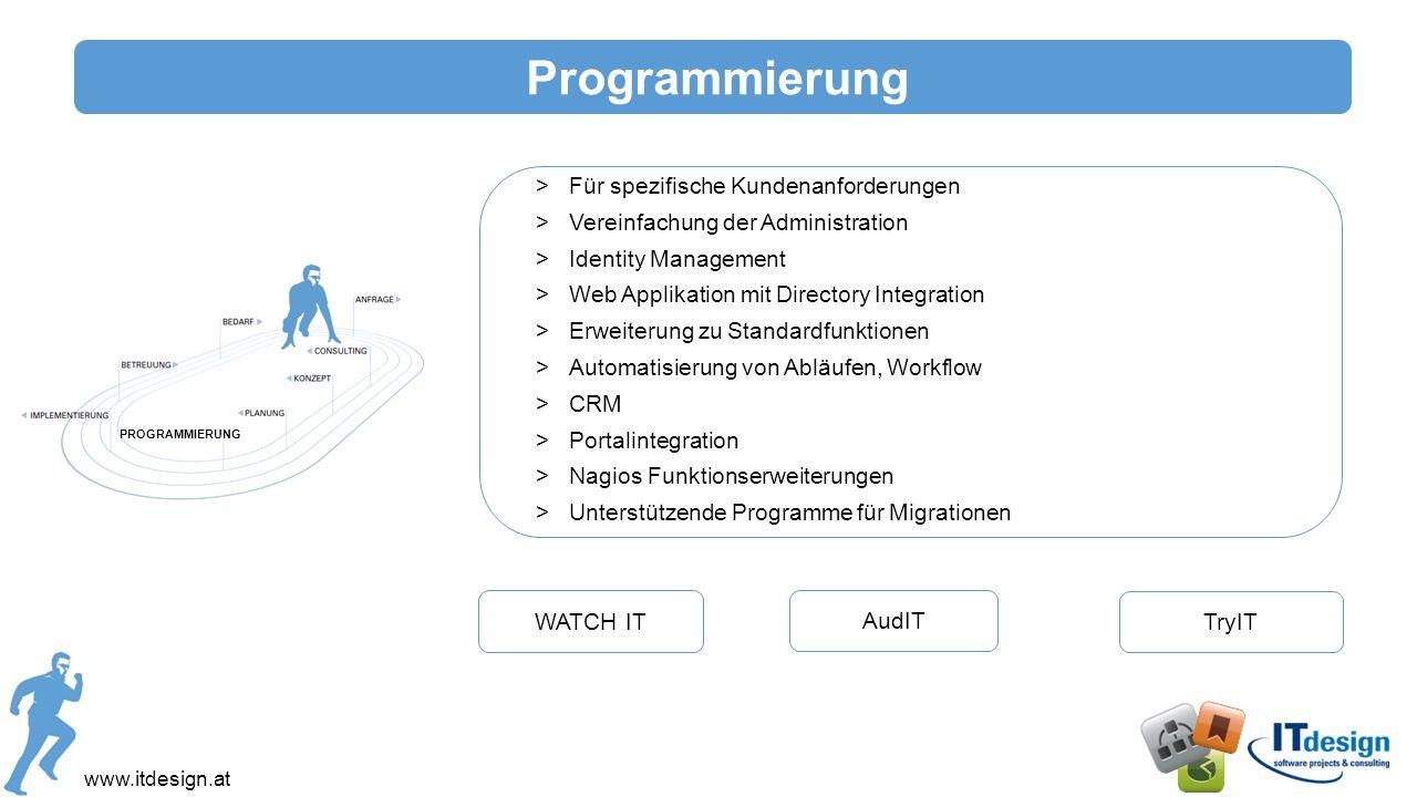 www.itdesign.at Implementierung >Standardisierung >Aktualisierung >Optimierung >Migration >Automatisierung >Virtualisierung IMPLEMENTIERUNG