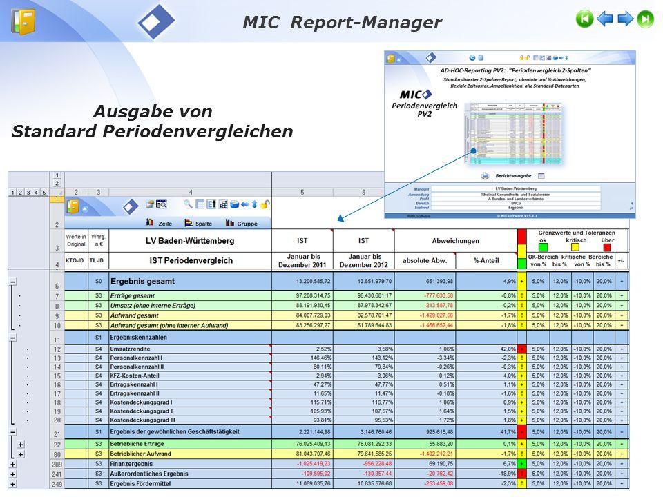 Ausgabe von Standard Periodenvergleichen MIC Report-Manager