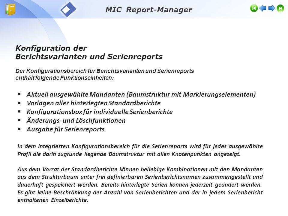 Konfiguration der Berichtsvarianten und des Serienreports hinterlegte Standardberichte Aktuelle Mandanten- struktur konfigurierte Einzelberichte des ausgewählten Serienberichts Angelegte Berichtsserien Ausgabe und Änderungen Benutzer- berechtigung MIC Report-Manager