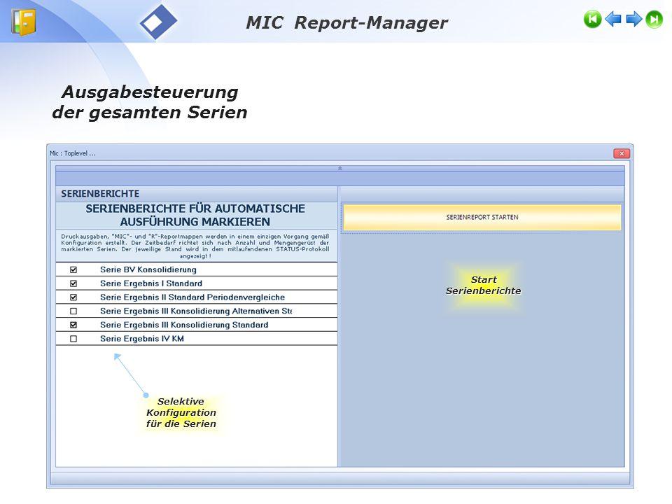 Ausgabesteuerung der gesamten Serien Start Serienberichte Selektive Konfiguration für die Serien MIC Report-Manager