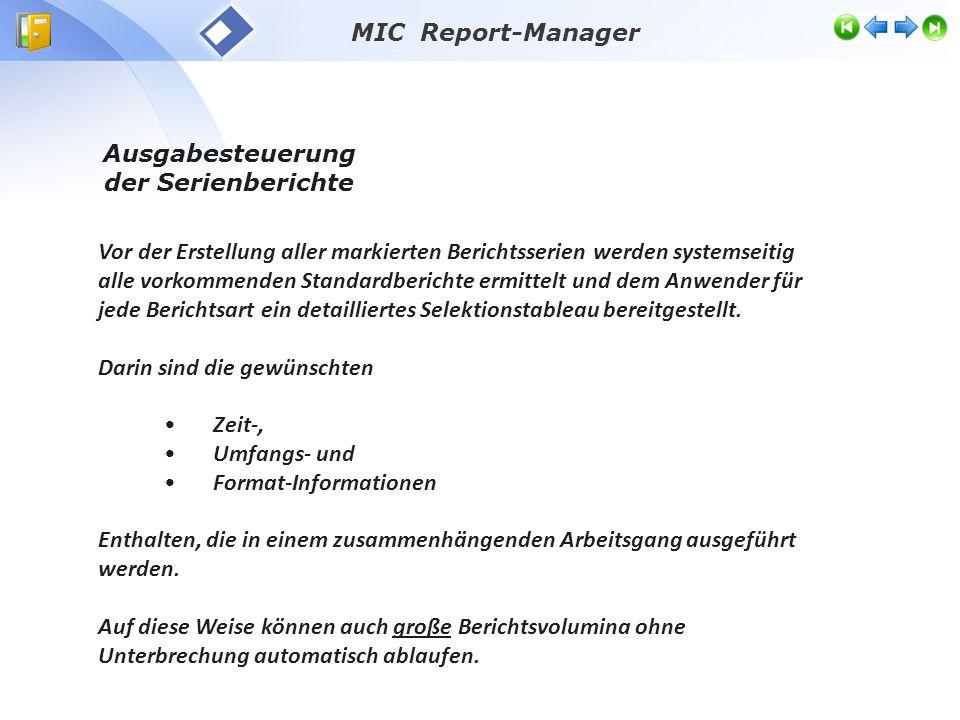 Vor der Erstellung aller markierten Berichtsserien werden systemseitig alle vorkommenden Standardberichte ermittelt und dem Anwender für jede Berichtsart ein detailliertes Selektionstableau bereitgestellt.