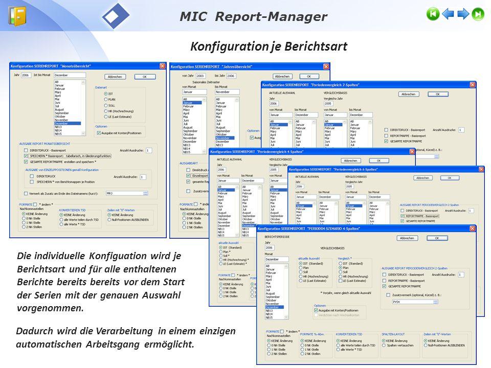Konfiguration je Berichtsart Die individuelle Konfiguation wird je Berichtsart und für alle enthaltenen Berichte bereits bereits vor dem Start der Serien mit der genauen Auswahl vorgenommen.