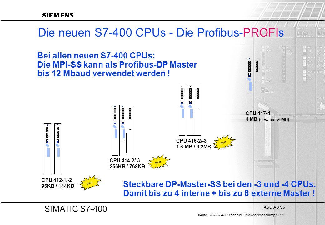 A&D AS V6 I\Autv16\S7\S7-400\Technik\Funktionserweiterungen.PPT 20 SIMATIC S7-400 Die neuen S7-400 CPUs - Die Profibus-PROFIs CPU 412-1/-2 96KB / 144K
