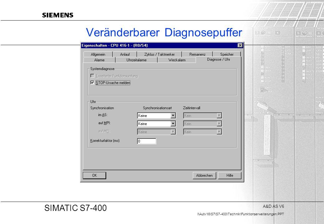 A&D AS V6 I\Autv16\S7\S7-400\Technik\Funktionserweiterungen.PPT 20 SIMATIC S7-400 Veränderbarer Diagnosepuffer
