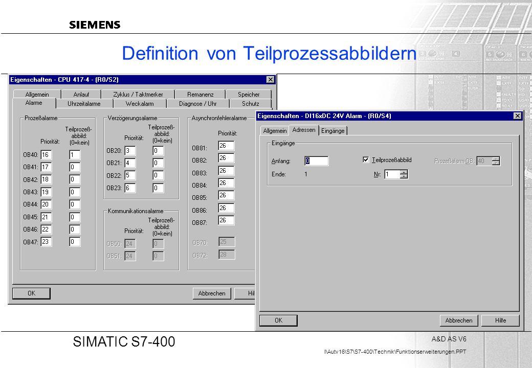 A&D AS V6 I\Autv16\S7\S7-400\Technik\Funktionserweiterungen.PPT 20 SIMATIC S7-400 Definition von Teilprozessabbildern