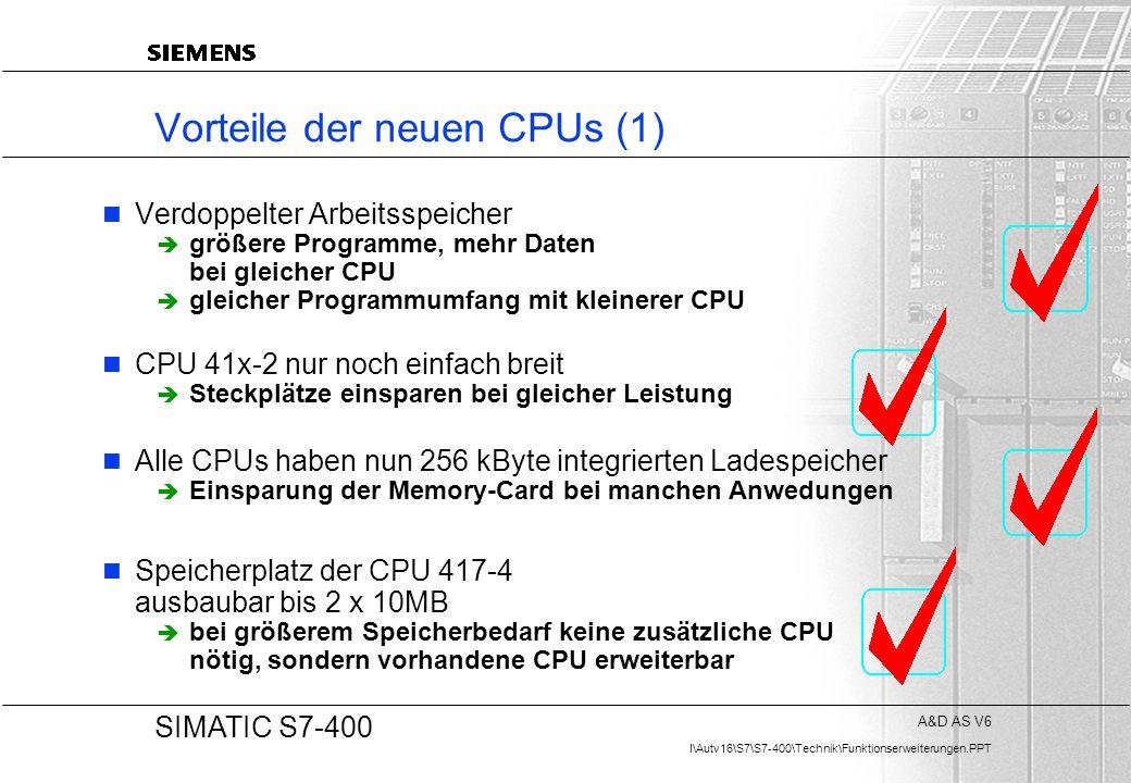A&D AS V6 I\Autv16\S7\S7-400\Technik\Funktionserweiterungen.PPT 20 SIMATIC S7-400 Vorteile der neuen CPUs (1) Verdoppelter Arbeitsspeicher  größere P