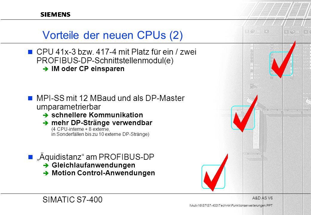 A&D AS V6 I\Autv16\S7\S7-400\Technik\Funktionserweiterungen.PPT 20 SIMATIC S7-400 Vorteile der neuen CPUs (2) CPU 41x-3 bzw. 417-4 mit Platz für ein /