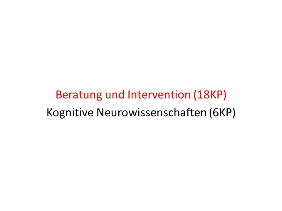 """Beratung und Intervention (18KP) 3 Module von je 6 KP oder 2 Module von je 6 KP + Modul """"Sozialpsychologie (3 KP) + 1 Vorlesung mit Klausur (aus dem dritten Modul)"""