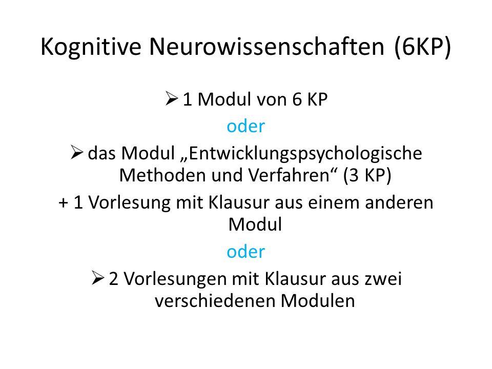 Kognitive Neurowissenschaften (18KP) Beratung und Intervention (6KP)