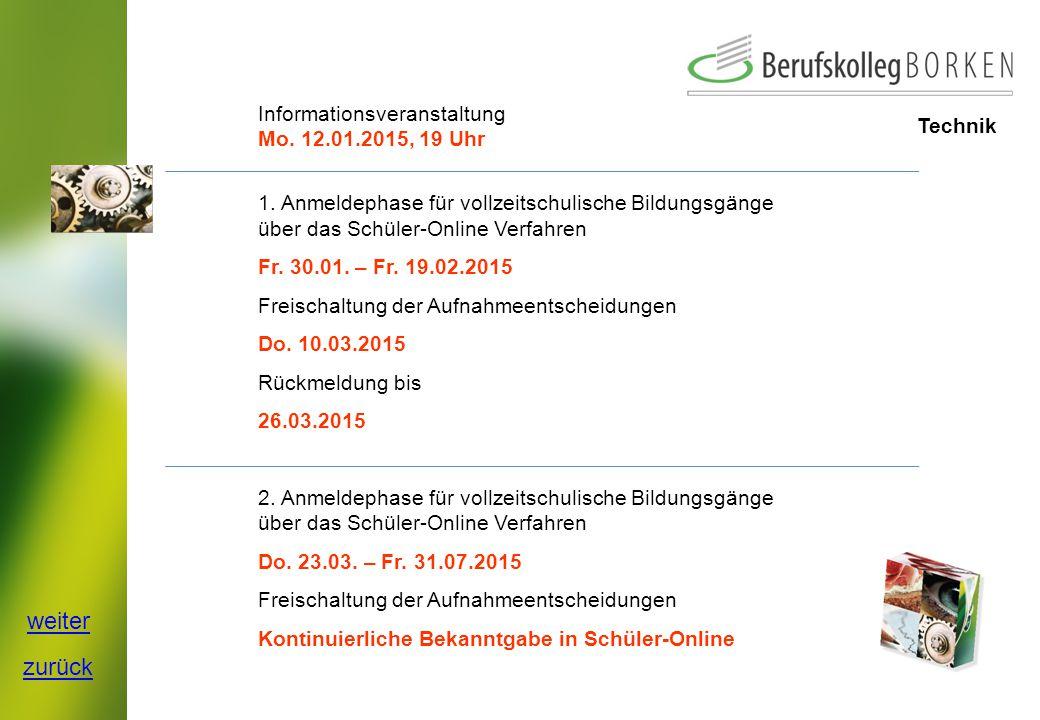 Technik Informationsveranstaltung Mo.12.01.2015, 19 Uhr 1.
