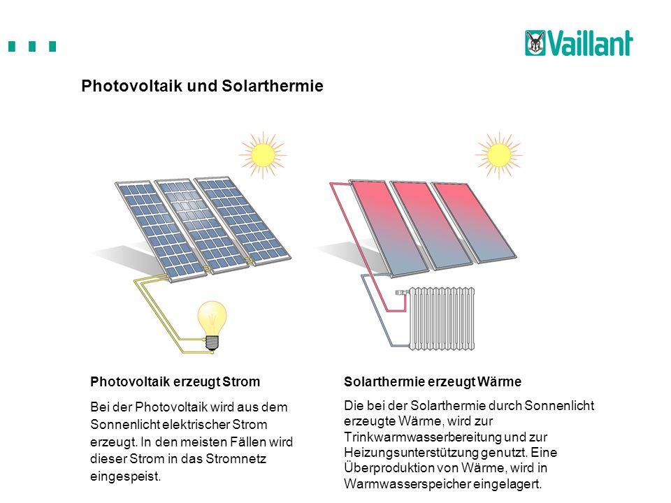 Photovoltaik und Solarthermie Solarthermie erzeugt Wärme Die bei der Solarthermie durch Sonnenlicht erzeugte Wärme, wird zur Trinkwarmwasserbereitung