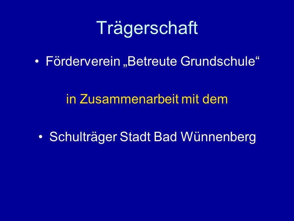 """Trägerschaft Förderverein """"Betreute Grundschule in Zusammenarbeit mit dem Schulträger Stadt Bad Wünnenberg"""