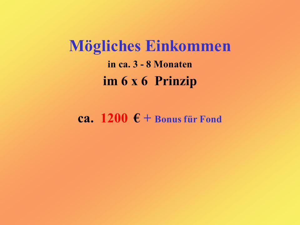 Mögliches Einkommen in ca. 3 - 8 Monaten im 6 x 6 Prinzip ca. 1200 € + Bonus für Fond