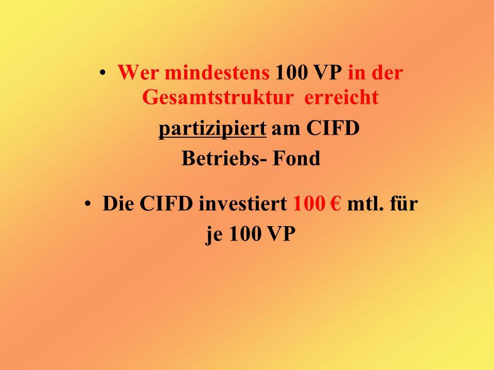 Wer mindestens 100 VP in der Gesamtstruktur erreicht partizipiert am CIFD Betriebs- Fond Die CIFD investiert 100 € mtl.