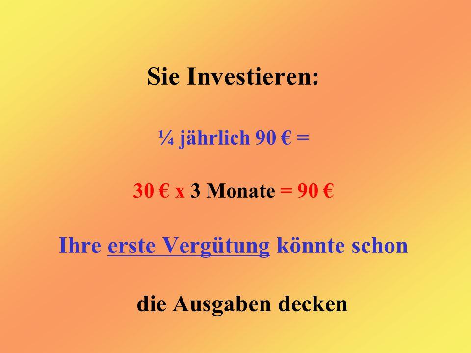 Sie Investieren: ¼ jährlich 90 € = 30 € x 3 Monate = 90 € Ihre erste Vergütung könnte schon die Ausgaben decken