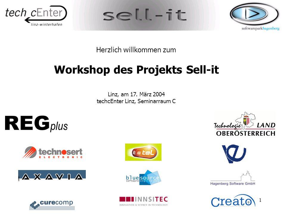 1 Herzlich willkommen zum Workshop des Projekts Sell-it Linz, am 17. März 2004 techcEnter Linz, Seminarraum C