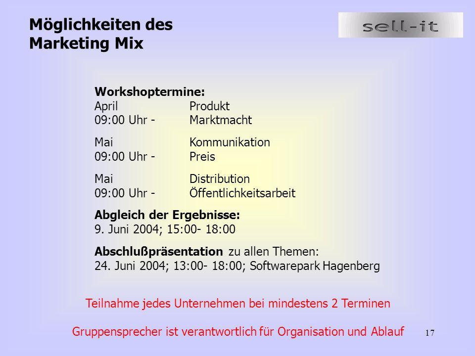 17 Möglichkeiten des Marketing Mix Workshoptermine: AprilProdukt 09:00 Uhr - Marktmacht MaiKommunikation 09:00 Uhr -Preis MaiDistribution 09:00 Uhr -Ö