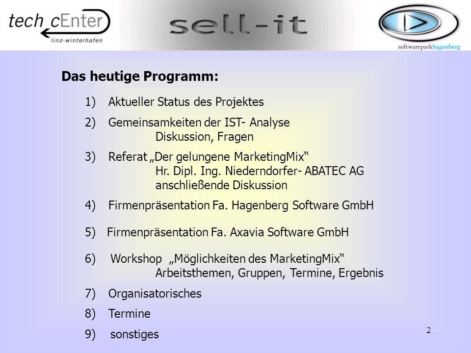 """2 Das heutige Programm: 1)Aktueller Status des Projektes 2)Gemeinsamkeiten der IST- Analyse Diskussion, Fragen 3)Referat """"Der gelungene MarketingMix"""""""