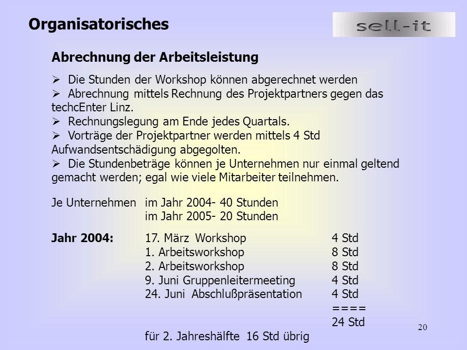 20 Organisatorisches Abrechnung der Arbeitsleistung  Die Stunden der Workshop können abgerechnet werden  Abrechnung mittels Rechnung des Projektpartners gegen das techcEnter Linz.