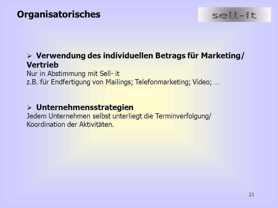 21 Organisatorisches  Verwendung des individuellen Betrags für Marketing/ Vertrieb Nur in Abstimmung mit Sell- it z.B. für Endfertigung von Mailings;