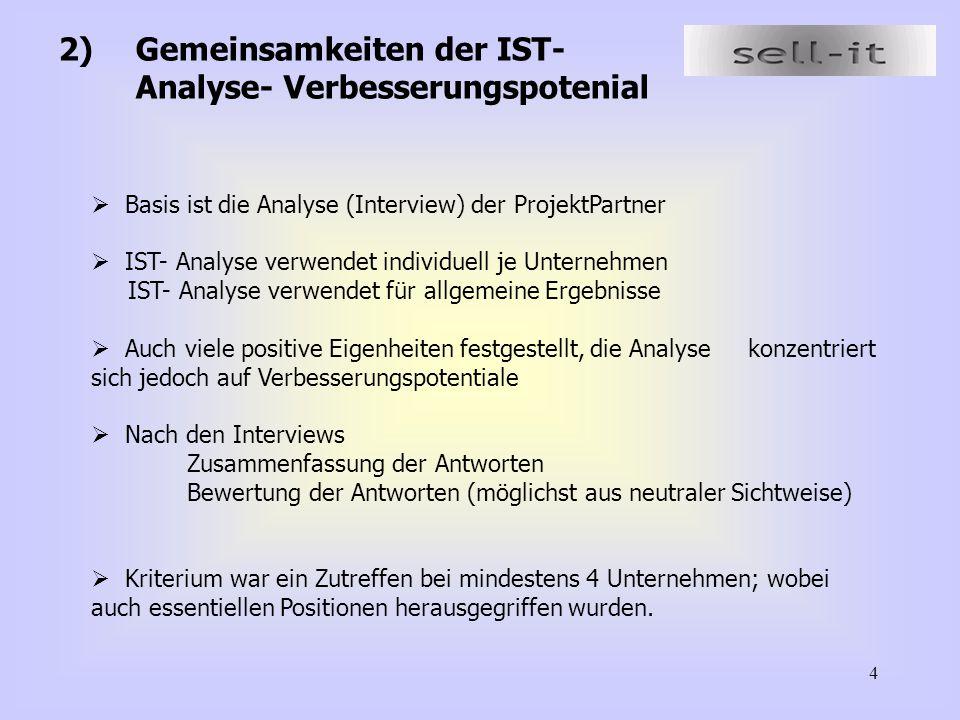 4 2)Gemeinsamkeiten der IST- Analyse- Verbesserungspotenial  Basis ist die Analyse (Interview) der ProjektPartner  IST- Analyse verwendet individuel