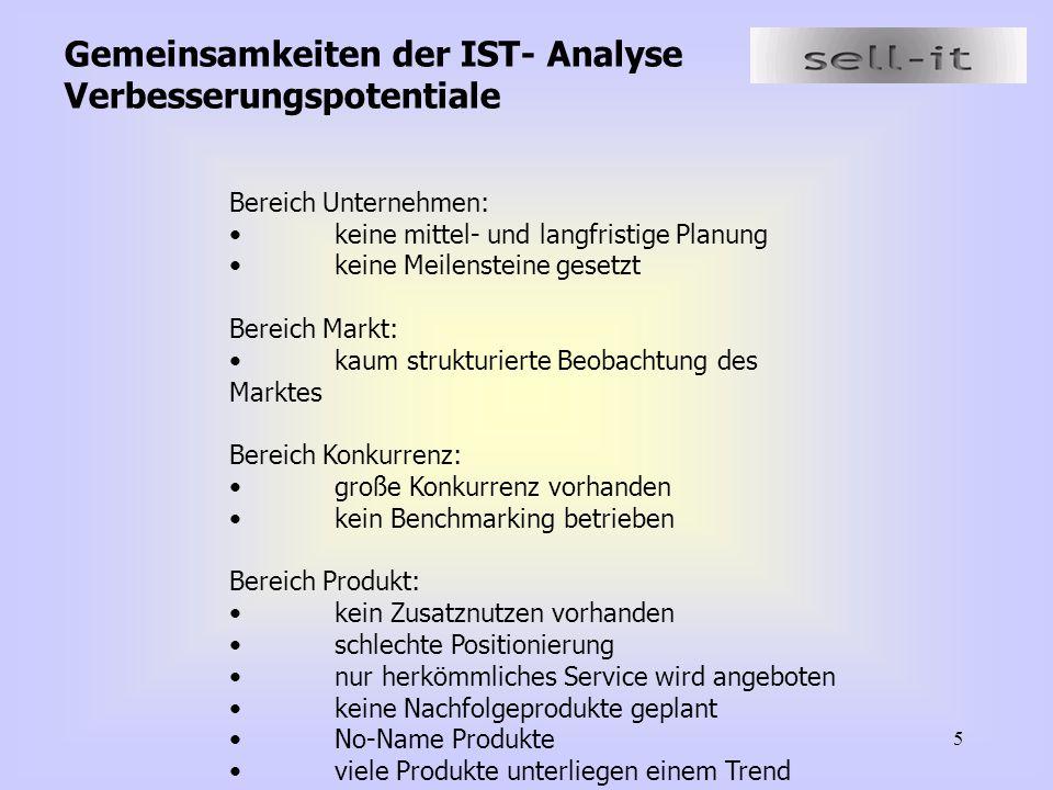 5 Gemeinsamkeiten der IST- Analyse Verbesserungspotentiale Bereich Unternehmen: keine mittel- und langfristige Planung keine Meilensteine gesetzt Bere