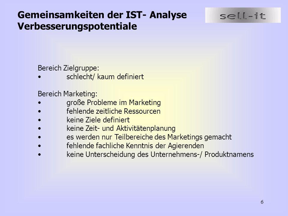 6 Gemeinsamkeiten der IST- Analyse Verbesserungspotentiale Bereich Zielgruppe: schlecht/ kaum definiert Bereich Marketing: große Probleme im Marketing