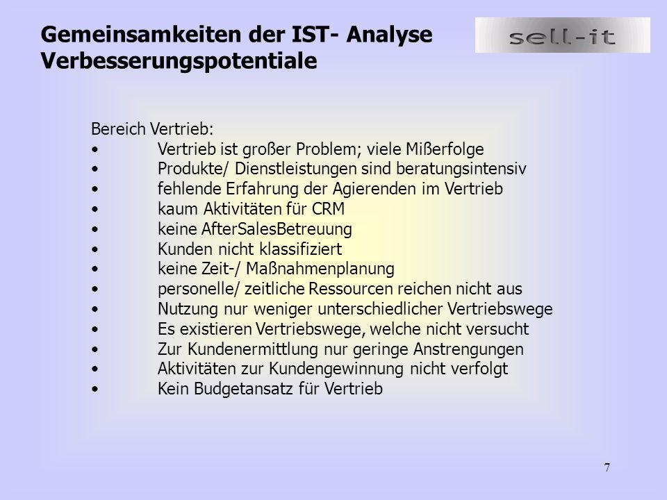 7 Gemeinsamkeiten der IST- Analyse Verbesserungspotentiale Bereich Vertrieb: Vertrieb ist großer Problem; viele Mißerfolge Produkte/ Dienstleistungen
