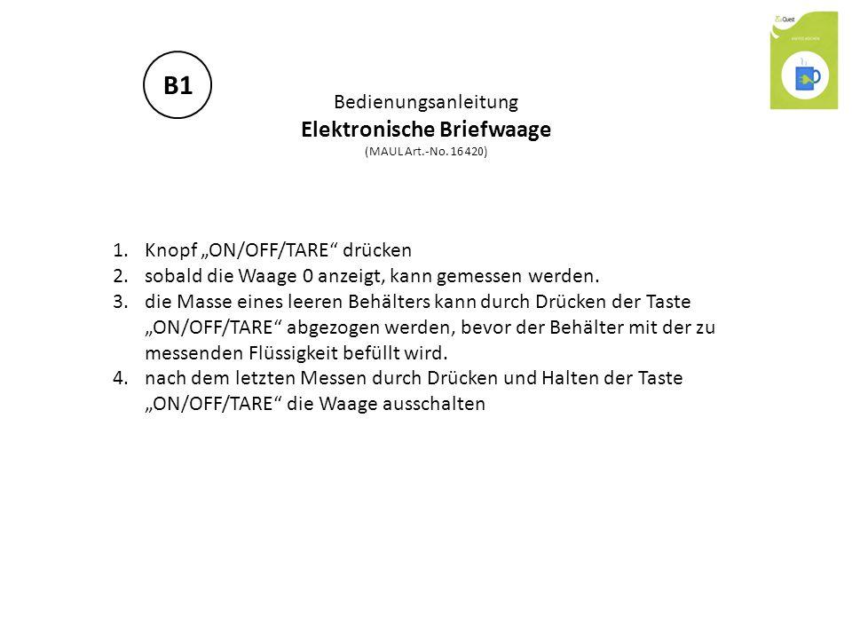 """Bedienungsanleitung Elektronische Briefwaage (MAUL Art.-No. 16 420) 1.Knopf """"ON/OFF/TARE"""" drücken 2.sobald die Waage 0 anzeigt, kann gemessen werden."""