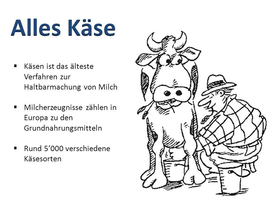  Käsen ist das älteste Verfahren zur Haltbarmachung von Milch  Milcherzeugnisse zählen in Europa zu den Grundnahrungsmitteln  Rund 5'000 verschiede