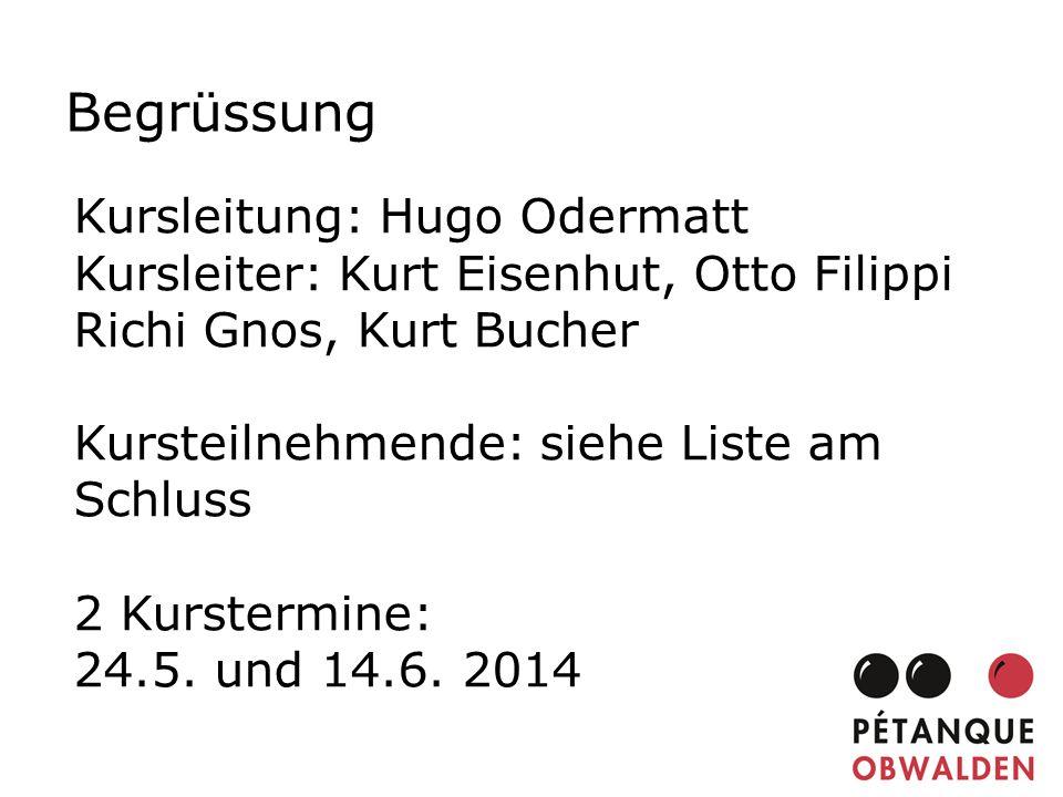 Begrüssung Kursleitung: Hugo Odermatt Kursleiter: Kurt Eisenhut, Otto Filippi Richi Gnos, Kurt Bucher Kursteilnehmende: siehe Liste am Schluss 2 Kurst