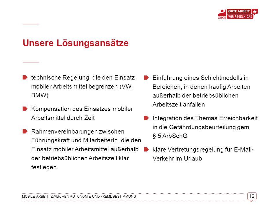 13 MOBILE ARBEIT: ZWISCHEN AUTONOMIE UND FREMDBESTIMMUNG IG BCE Hauptverwaltung Vorstandsbereich 3 - Abt.