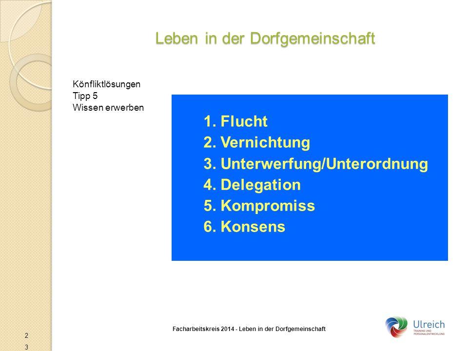 Leben in der Dorfgemeinschaft Facharbeitskreis 2014 - Leben in der Dorfgemeinschaft 23 Könfliktlösungen Tipp 5 Wissen erwerben 1. Flucht 2. Vernichtun