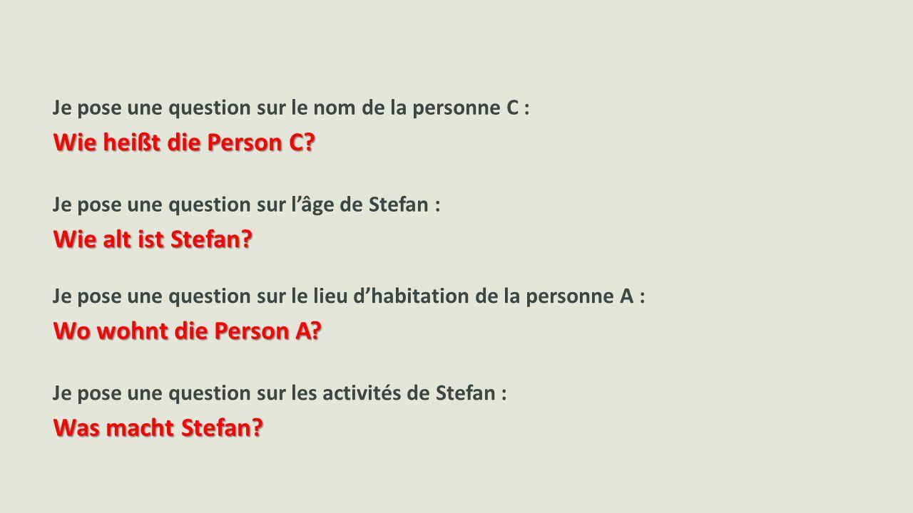 Je pose une question sur le nom de la personne C : Je pose une question sur l'âge de Stefan : Je pose une question sur le lieu d'habitation de la personne A : Je pose une question sur les activités de Stefan : Wie heißt die Person C.
