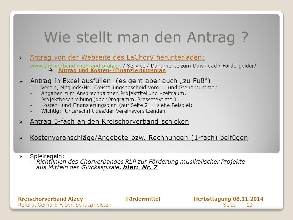 Wie stellt man den Antrag ?  Antrag von der Webseite des LaChorV herunterladen: www.chorverband-rheinland-pfalz.dewww.chorverband-rheinland-pfalz.de