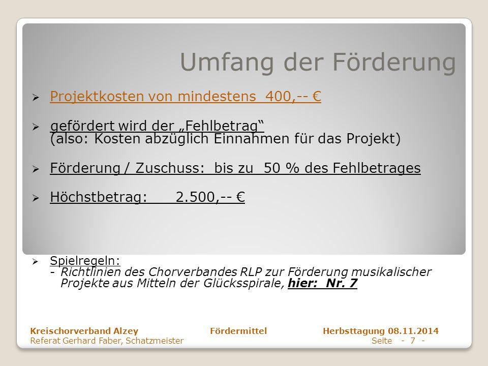 """Umfang der Förderung  Projektkosten von mindestens 400,-- €  gefördert wird der """"Fehlbetrag"""" (also: Kosten abzüglich Einnahmen für das Projekt)  Fö"""