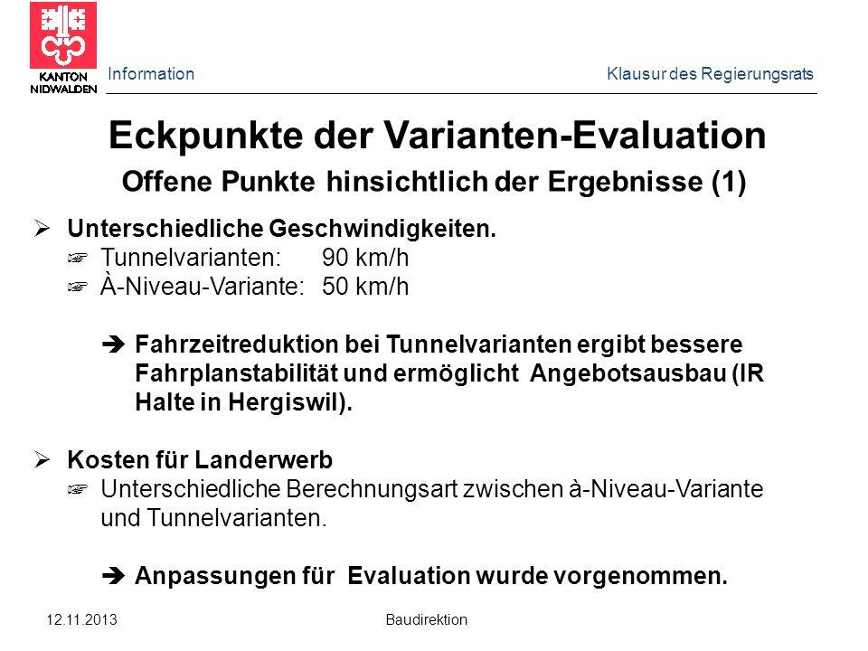 Information Klausur des Regierungsrats 12.11.2013 Baudirektion Eckpunkte der Varianten-Evaluation Offene Punkte hinsichtlich der Ergebnisse (1)  Unte