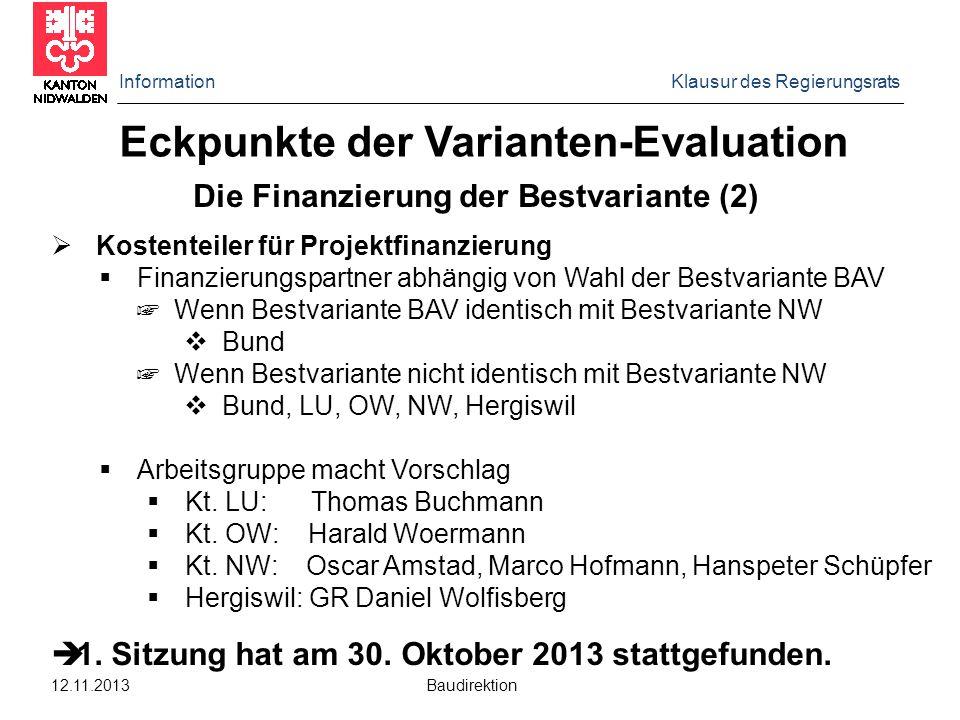 Information Klausur des Regierungsrats 12.11.2013 Baudirektion Die Finanzierung der Bestvariante (2)  Kostenteiler für Projektfinanzierung  Finanzie