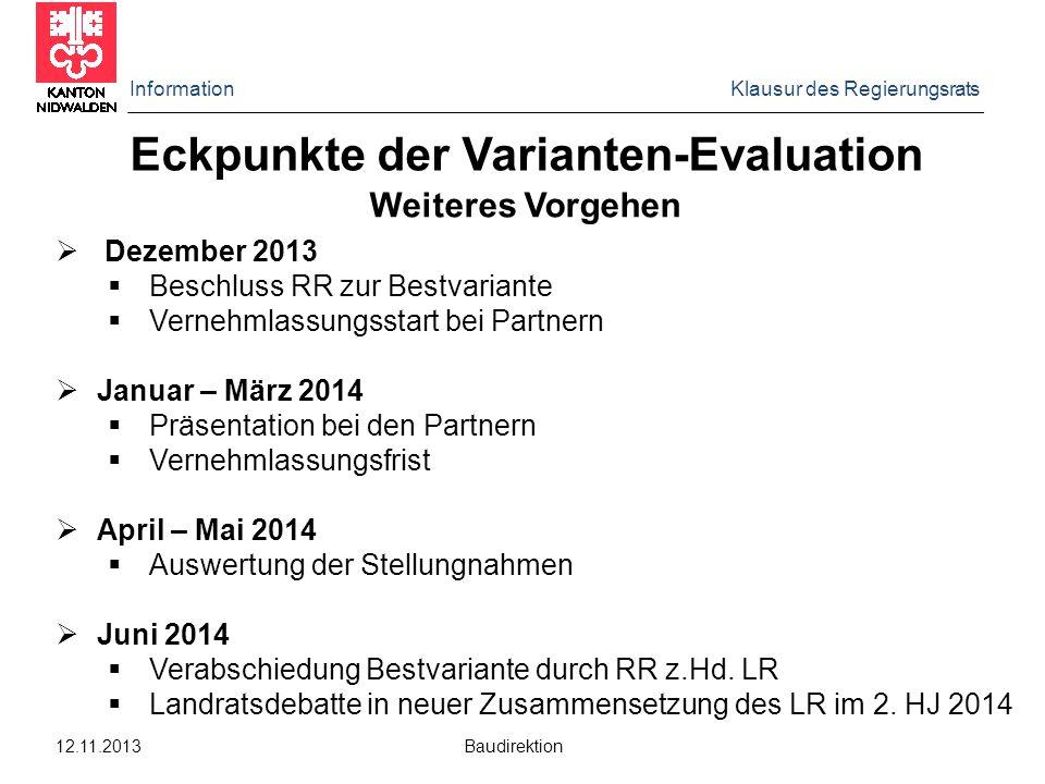Information Klausur des Regierungsrats 12.11.2013 Baudirektion Weiteres Vorgehen  Dezember 2013  Beschluss RR zur Bestvariante  Vernehmlassungsstar
