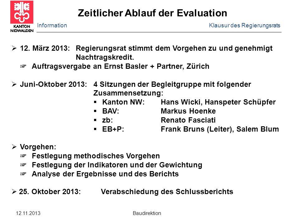 Information Klausur des Regierungsrats 12.11.2013 Baudirektion  12. März 2013:Regierungsrat stimmt dem Vorgehen zu und genehmigt Nachtragskredit. ☞ A