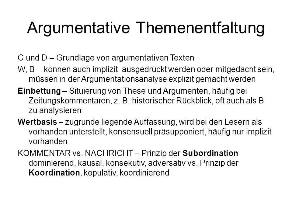 Argumentative Themenentfaltung C und D – Grundlage von argumentativen Texten W, B – können auch implizit ausgedrückt werden oder mitgedacht sein, müss