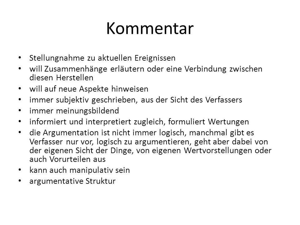 Arten von Kommentaren (W.