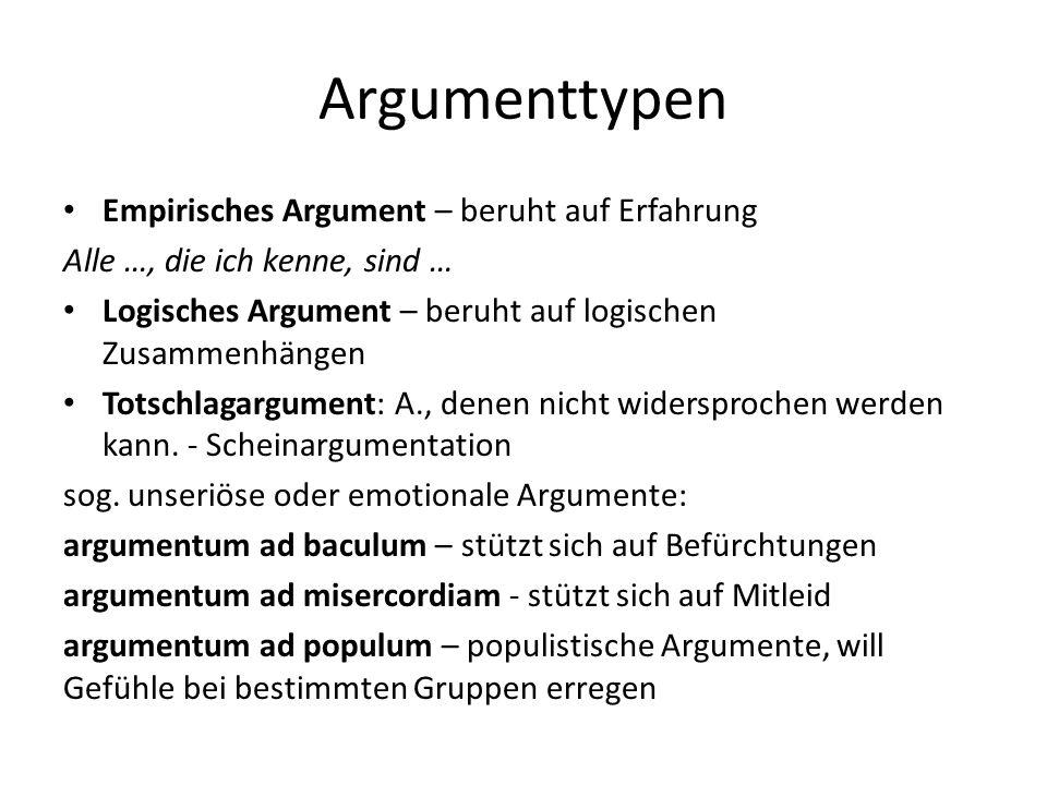 Argumentationsmodell von STEPHEN TOULMIN Allgemeine Struktur der Argumentation besteht aus sechs logisch- semantisch definierten Kategorien: 1.Claim – These, Behauptung  Textthema 2.Grounds (Data) – Argumente, Einzeltatsachen, allgemeine Gesetze, Regeln, Rechfertigung 3.Warrant – Schlussregel 4.Backing – Aussagen, die die inhaltlichen Standards des Argumentationsbereichs stützen, Stützung 5.Qualifier – Modaloperator, Wahrscheinlichkeitsgrad von C 6.Rebuttal – Ausnahmebedingungen, die W einschränken
